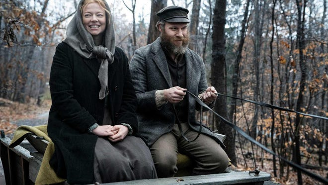 "Sarah (Sarah Snook) and Herschel (Seth Rogen) fall in love in the bleak Eastern European locale of Schlupsk in ""An American Pickle."""