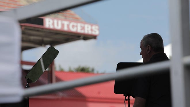 New Jersey Gov. Phil Murphy during a budget speech rehearsal Sunday, Aug. 23, 2020, at SHI Stadium in Piscataway.