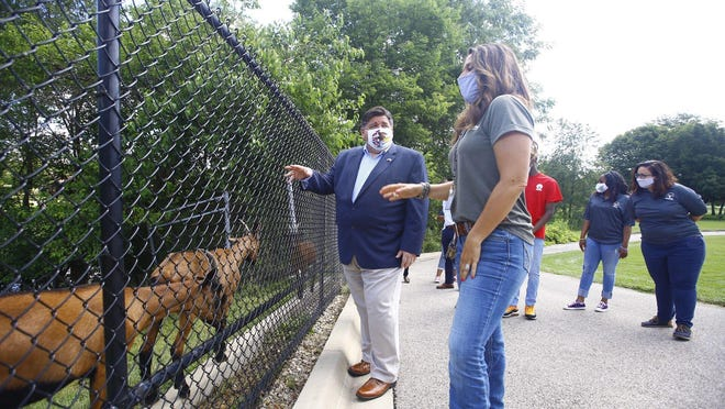 Illinois Governor JB Pritzker tours the Rockford Park District's Lockwood Park on Thursday, July 16, 2020.