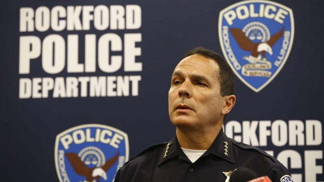 Rockford Police Chief Dan O'Shea at Wednesday's news conference announcing the results of an internal investigation into allegations of excessive use of force during a May 30 demonstration outside the District 1 police station.