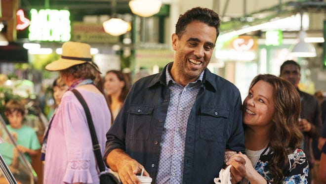 """Bobby Cannavale, left, and Melissa McCarthy in """"Superintelligence."""""""