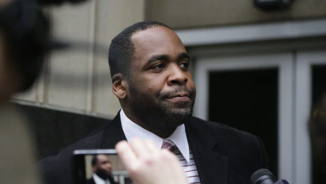 Former Detroit Mayor Kwame Kilpatrick exits the U.S. Federal Courthouse in downtown Detroit in 2013 after the jury handed down a verdict in his public corruption trial.