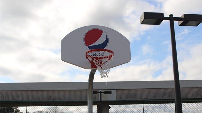 The Pepsi basketball hoop at Hollis T. Williams park.