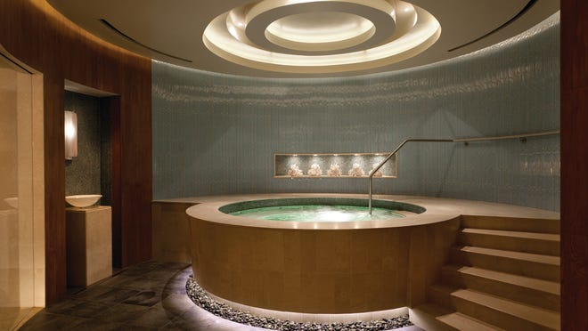 This whirlpool spa tub was manufactured by Diamond Spas at the Four Seasons Hotel in Denver.