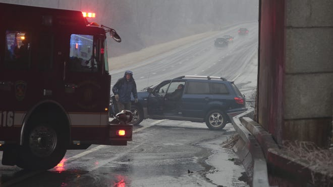 A driver crashed an SUV on the Taconic State Parkway in Yorktown amid icy road conditions Sunday.