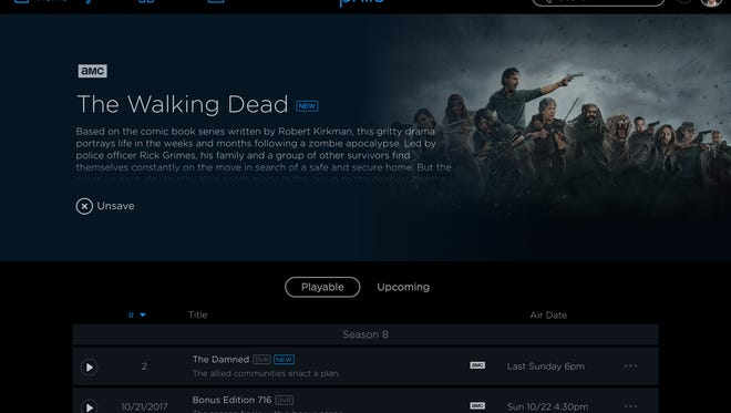 A screen shot from new subscription streaming TV service Philo, showing a page devoted to 'The Walking Dead.'