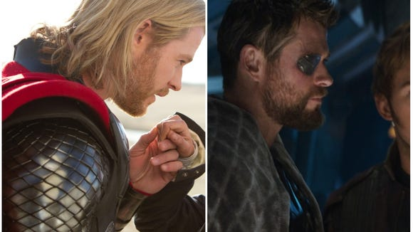 """Left: Thor in 2011's """"Thor."""" Right: Thor in """"Infinity"""