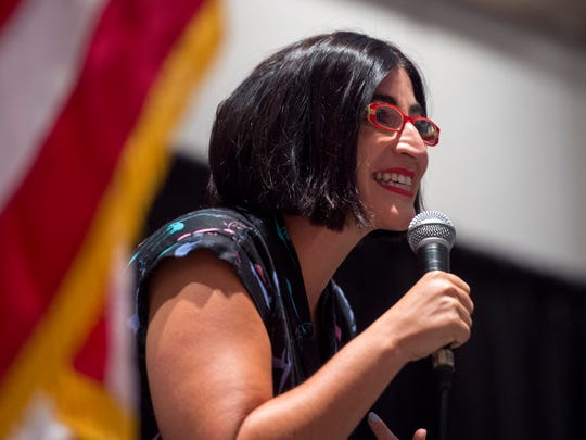 Comedian Negin Farsad, named one of the 50 Funniest Women by the Huffington Post, gives the keynote address at the 15th annual Women's Equality Day luncheon at the Old National Events Plaza on Friday, Aug. 25, 2017.