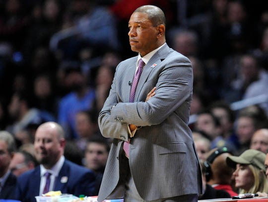 Los Angeles Clippers head coach Doc Rivers watches