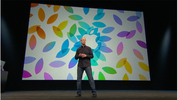 Tim Cook onstage at a product event.