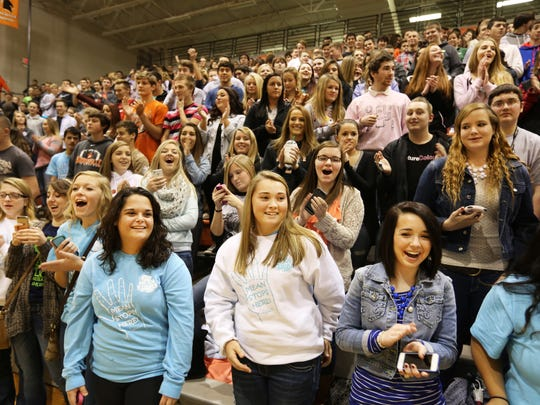 Waynesville High School students attend the Secret Mean Stinks Nicest Tour Ever assembly hosted by Keenan West.