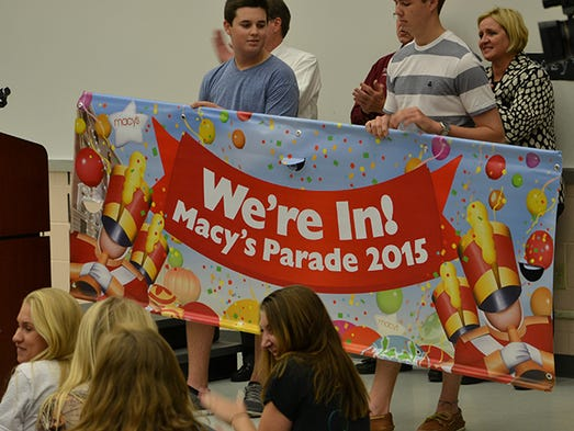 Macy's Thanksgiving Day Parade organizers surprised 300+ members of the Gulf Coast High Shark Marching Band with news that the band has been selected to march in the 2015 Macy's Thanksgiving Day Parade.