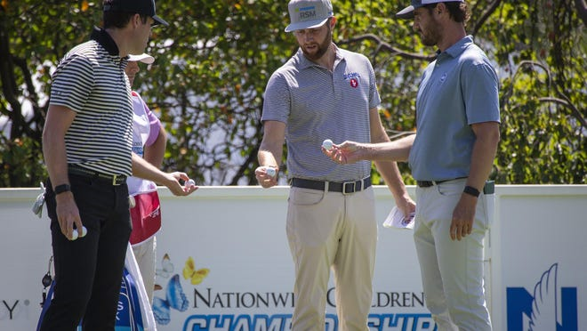 The grouping of, from left, Kyle Reifers, Chris Kirk and Rick Lamb will tee off at 7:41 a.m. from the No. 10 tee in the second round of the Korn Ferry Tour's Nationwide Children's Hospital Championship at Ohio State's Scarlet course.