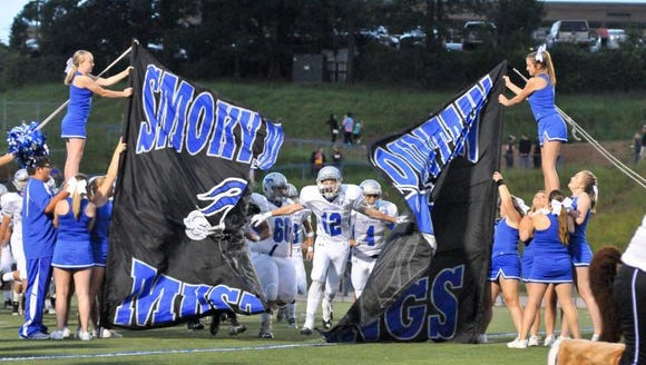 Smoky Mountain football players run through their banner