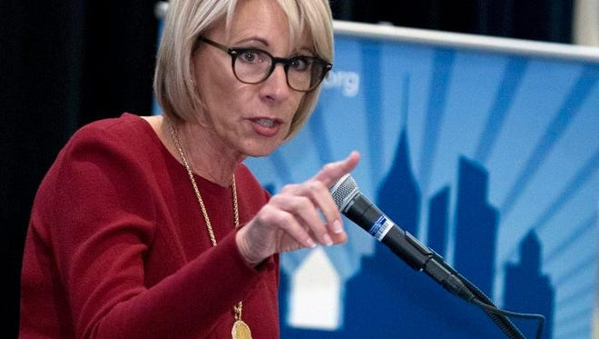 Education Secretary Betsy DeVos speaks at the Council of the Great City Schools Annual Legislative/Policy Conference in Washington on March 13. This week the education department announced the 2017 Presidential Scholars.