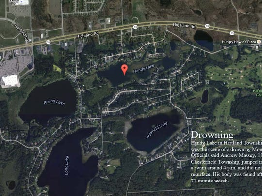 Officials said 18-year-old Andrew Massey, of Chesterfield Township, drowned Monday on Handy Lake in Hartland Township.