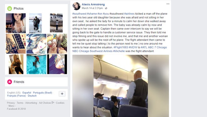 A screenshot of the Facebook page of Alexis Armstrong shows her video that captures a father and daughter being kicked off a Southwest flight.