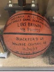 The ball from Luke Brown's record-breaking performance