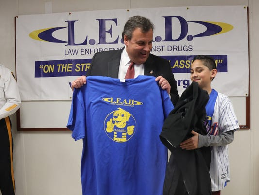 Governor Chris Christie visits the Washington School, showing his support for the LEAD program, an educational effort by law enforcement to keep kids, like these sixth graders, away from drugs.