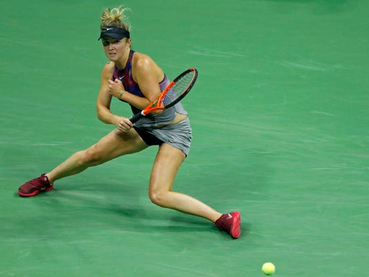 Elina Svitolina, of Ukraine, returns a shot against Madison Keys, of the United States, during the fourth round of the U.S. Open tennis tournament, Monday, Sept. 4, 2017, in New York. (AP Photo/Adam Hunger)