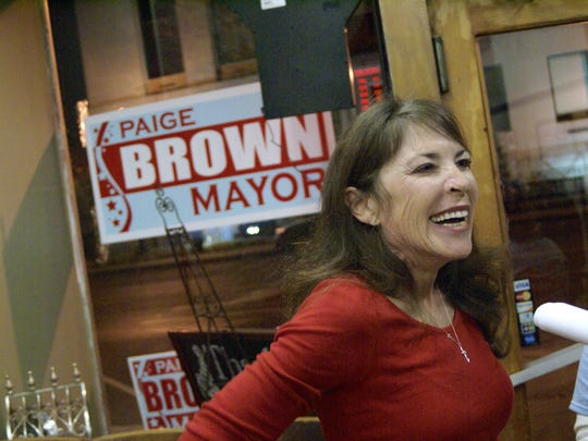 Paige Brown celebrates her win over incumbent Gallatin Mayor Jo Ann Graves with supporters at Crescent City Poboys in November.