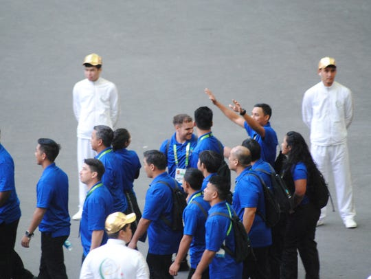 Team Guam makes its entrance at the closing ceremonies