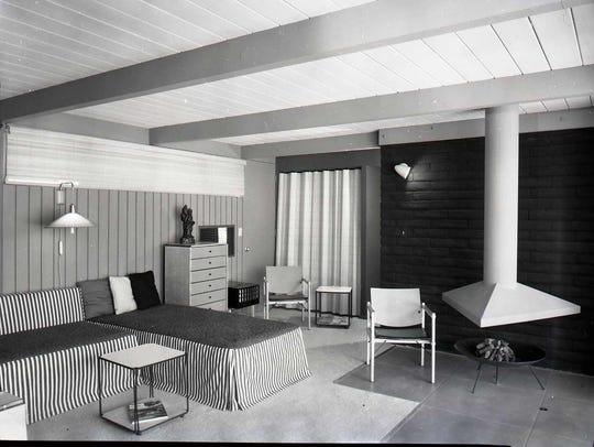 Interior of hotel room at Desert Isle.