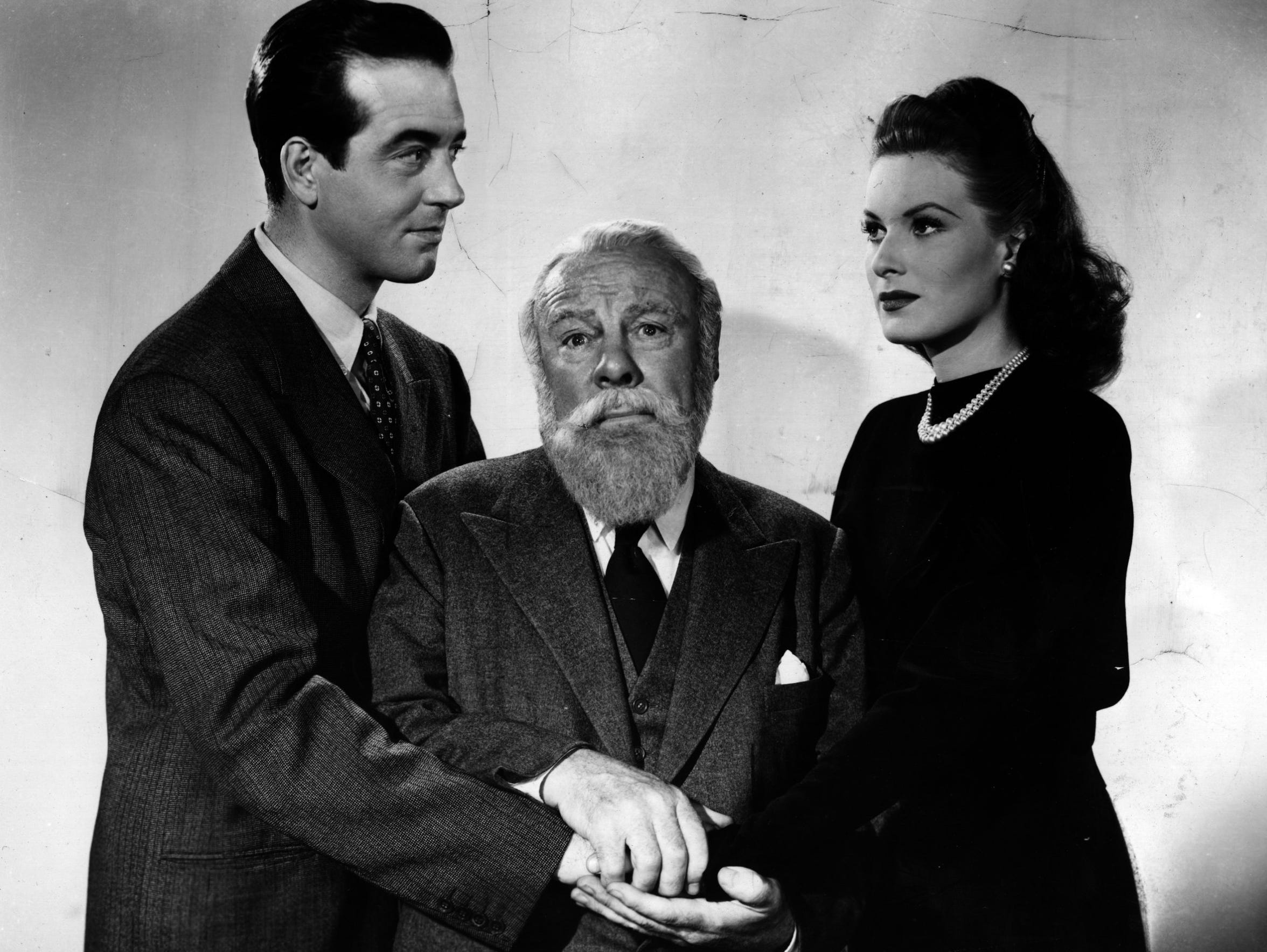 John Payne (left), Edmund Gwenn and Maureen O'Hara