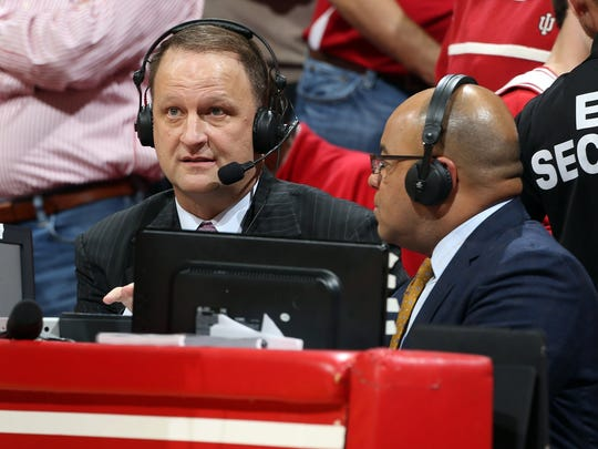 ESPN announcer Dan Dakich, left, calls a game between Iowa and Indiana on March 3, 2015, at Assembly Hall.