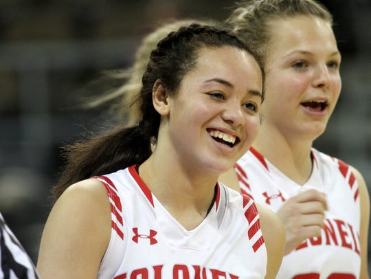 Dixie Heights' Sydney Lockard smiles after the Colonels