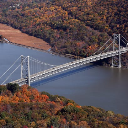 Bear Mountain Bridge as seen from the top of Bear Mountain.