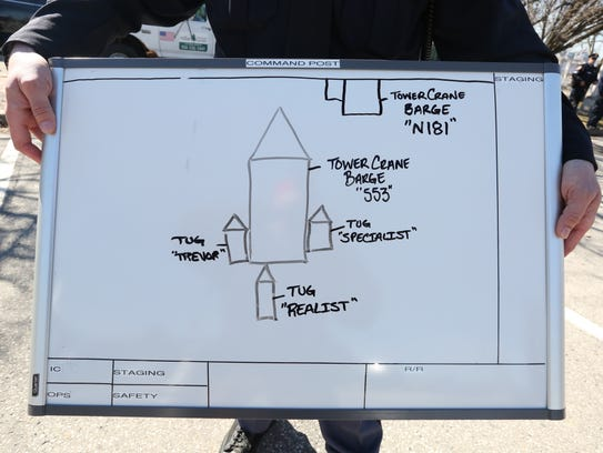 A Westchester County Police Officer shows a diagram