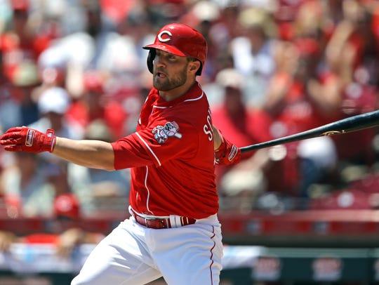 Cincinnati Reds right fielder Scott Schebler hits an