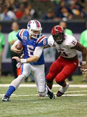 Former Louisiana Tech quarterback Jeff Driskel (6) is confident he'll run a fast 40-yard dash time at Saturday's NFL Combine.