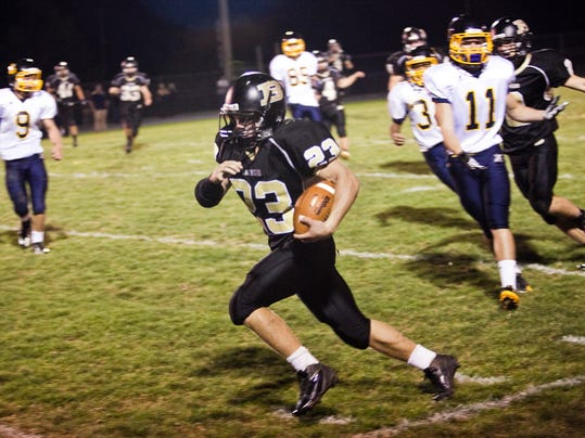 Oakley Fissel rushed for three touchdowns Friday night to help Biglerville knock Littlestown from the ranks of the unbeatens, 24-6. (The Evening Sun -- Shane Dunlap)