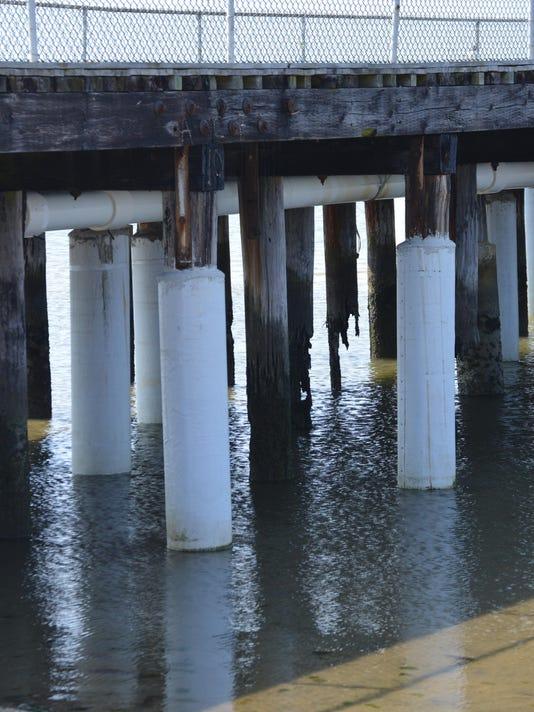 repaired fishing pier pilings