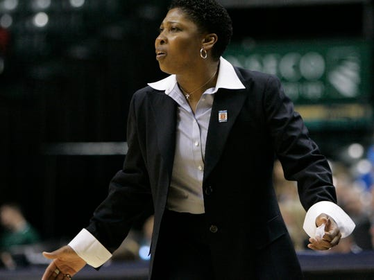 FILE - In this March 5, 2009, file photo, Illinois head coach Jolette Law shouts instructions to her team during the second half of an NCAA college basketball game against Penn State at the Big Ten Conference women's tournament, in Indianapolis. Jolette Law had her shot as the head coach of Illinois after being a longtime assistant at Rutgers under C. Vivian Stringer. Law went 69-93 in her five years at Illinois before getting let go. She doesn't know if she'll get another chance as a head coach despite being one of the most well-respected assistants in the sport. (AP Photo/Darron Cummings, File)
