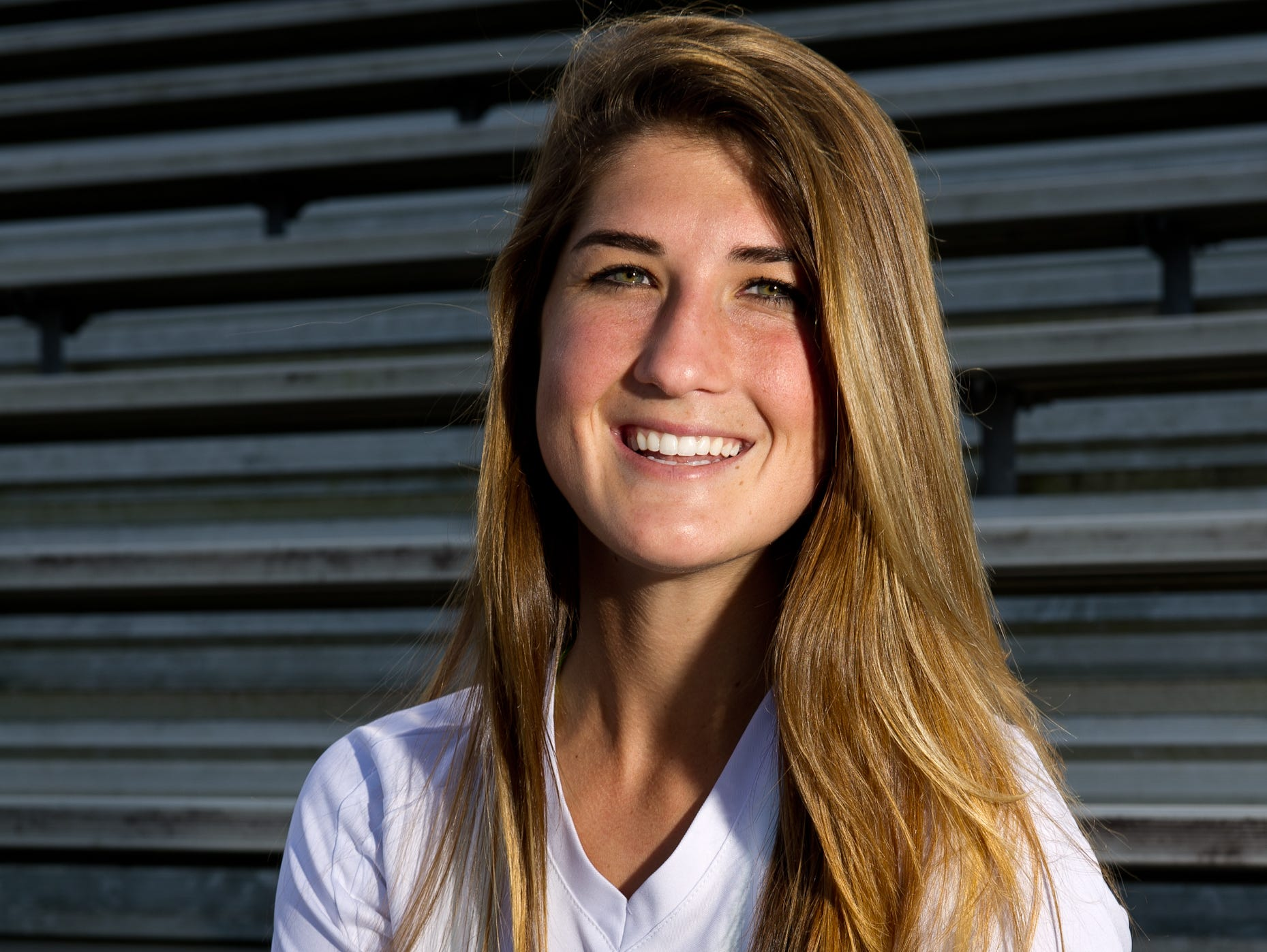 Fort Myer High School girls soccer player Bailey Pombrio poses for a photograph at Fort Myers High School, Tuesday, January 13, 2015. Bailey is Fort Myers high schools new all-time leading goal scorer. (Logan Newell/Special to the News-Press)