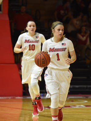 Marist College's Claire Oberdorf brings the ball up court while teammate Maura Fitzpatrick follows during a Nov. 15 home game against Seton Hall.