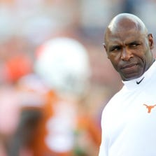 AUSTIN, TX - AUGUST 30: Texas Longhorns head coach Charlie Strong looks on during warmups before kickoff against the North Texas Mean Green on August 30, 2014 at Darrell K Royal-Texas Memorial Stadium in Austin, Texas.