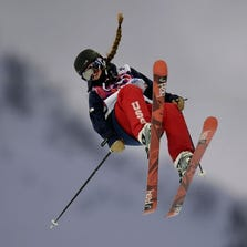 Maddie Bowman (USA) competes in qualification for ladies' freestyle skiing halfpipe