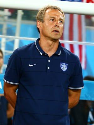 USA head coach Juergen Klinsmann prior to the game against Ghana during the 2014 World Cup at Estadio das Dunas.