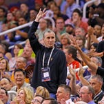 ASU men's basketball coach Bobby Hurley  is introduced as the Phoenix Suns host the Los Angeles Clippers on Tuesday, April 14, 2015 in Phoenix.
