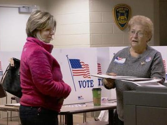 Election at polling place photo