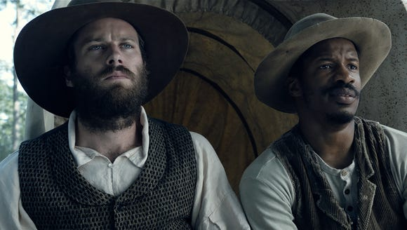 Nate Parker and Armie Hammer in a scene from 'The Birth
