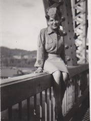 A young Bonnie Stage in front of the Panama Canal in