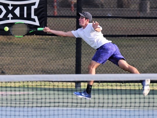 Wylie's Lane Adkins reaches for a return shot during