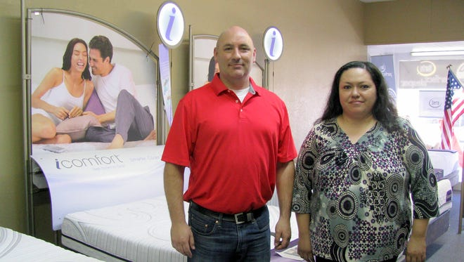 Tip Barentine and Virgie Miller at America's Mattress, 116 S. Gold St. in Deming.