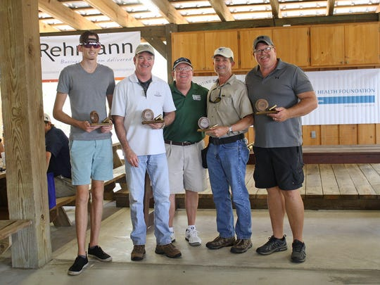 Second place at the VNA Charity Sporting Clay Shoot went to the Morgan Stanley Team of Peter Jones, left, Rick Lovelace, Greg Wheeler, Robert Pare and Lee Jones.