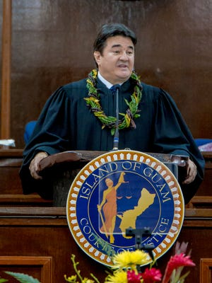 In this file photo, Chief Justice of Guam Robert J. Torres delivers the State of the Judiciary Address.